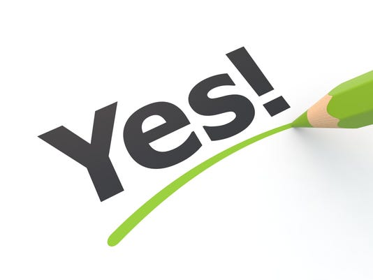 Stylized yes exclamation underlined in green