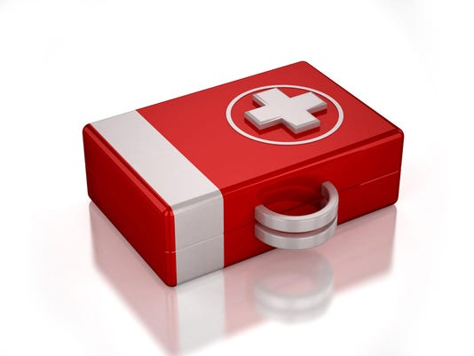 3D red first aid kit