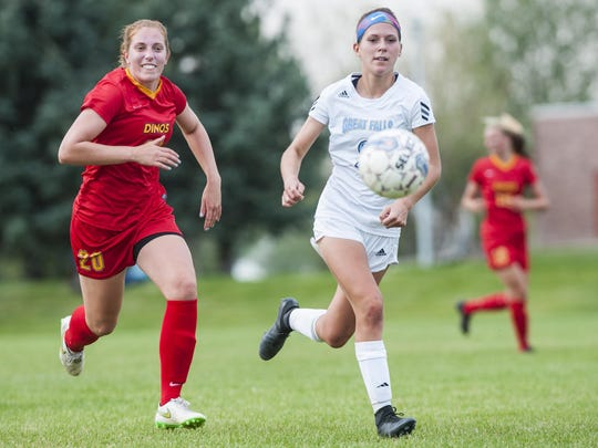 Former C.M. Russell High star Eme McLaughlin leads the University of Providence women's soccer team with 13 goals this season.