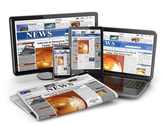 News. Media concept. Laptop, tablet pc, phone and newspaper.
