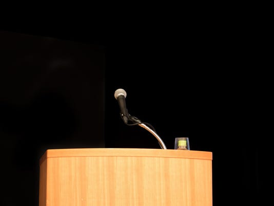 Lecturer and microphone