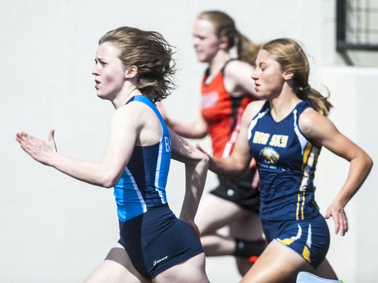Parker Sanford, front left, is set to help lead the Great Falls High girls' track team this spring.