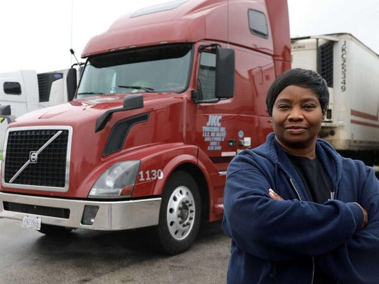 Truck driver Brenda Echols of JKC Trucking Inc. at Summit Cold Storage in Summit, Ill., on May 15, 2020. Echols drives between Illinois and Texas.
