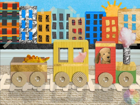 "Inventive graphics grace the background of ""Scribbaloo Train,"" a train adventure where the visuals are created out of craft materials."