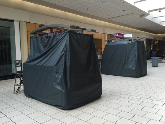 The site where Abror Habibov operated a kiosk at Dover Mall is shown Wednesday. Another vendor occupies a new kiosk on the site. Habibov is one of three men accused of plotting to help the Islamic State group.