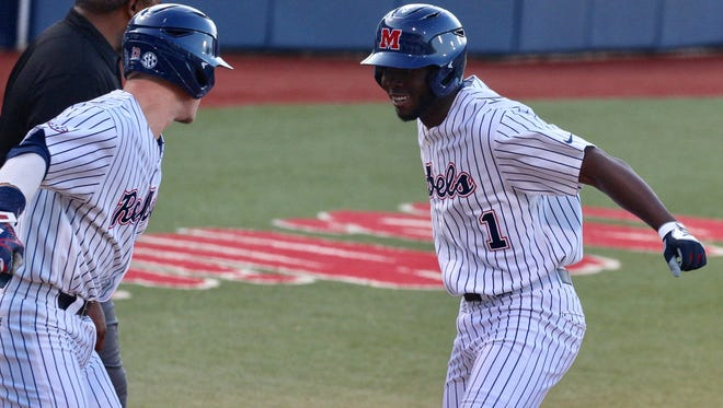 D.J. Miller (1) hit the first home run of his Ole Miss career in the second inning Wednesday night.