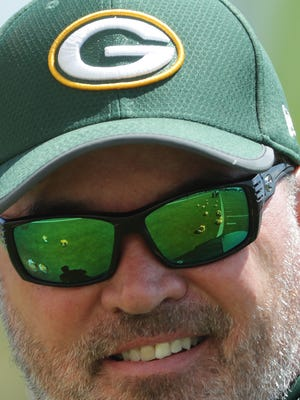 Green Bay Packers head coach Mike McCarthy is shown during organized team activities Monday, June 4, 2018, in Green Bay, Wis.