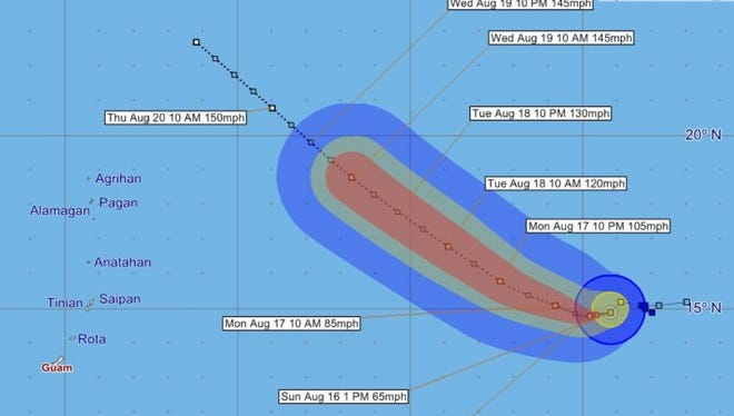 Forecast track for Tropical Storm Atsani, issued 1 p.m. Sunday, Aug. 16.