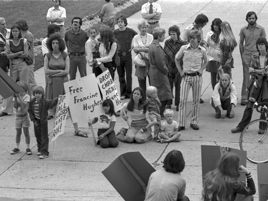 Francine Hughes rally at the state capitol - September 1, 1977.