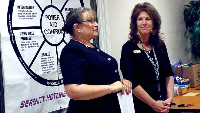 Serenity Inc. Executive Director Niki de Soto, left, and Donna Forrester, the shelter manager, talk about the women's shelter first quarter.