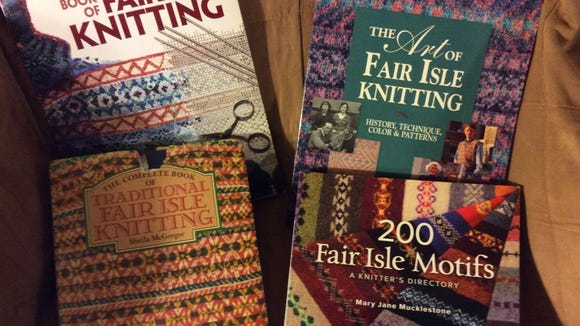 These are four of my favorite reference books for Fair Isle Knitting. McGregor's book is on the lower left, and you can see how tattered the jacket is.
