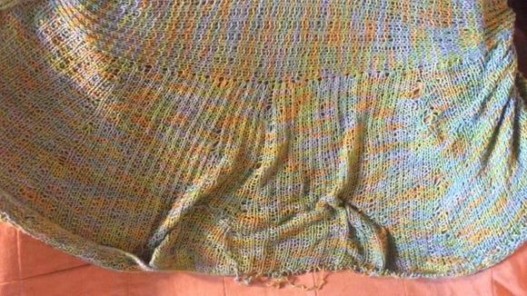 Part of the bind-off on my bamboo Kiama sweater began to unravel. It's turning out to not be an easy repair.