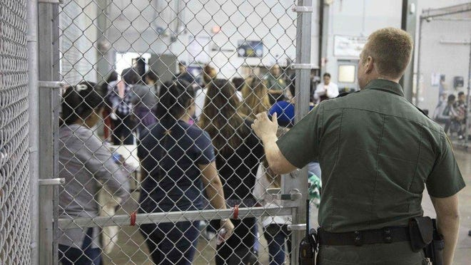 Children are shown at a detention center in McAllen, Texas. Customs and Border Protection via AFP Detention center in McAllen, Texas.