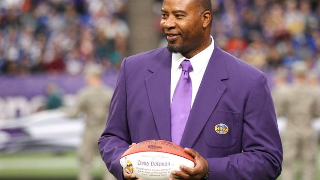 From Dec. 15, 2013, former Minnesota Viking Chris Doleman acknowledges the crowd during a ceremony honoring the All Mall of America Field team during halftime of an NFL football game between the Vikings and the Philadelphia Eagles in Minneapolis. Hall of Fame defensive end Doleman, who became one of the NFL's most feared pass rushers during 15 seasons in the league, has died. He was 58. The Vikings and Pro Football Hall of Fame president and CEO David Baker offered their condolences in separate statements late Tuesday night, Jan. 29, 2020.