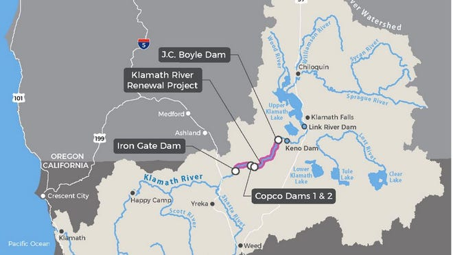 This map indicates the four dams that are slated for removal removal as part of the Klamath Hydroelectric Settlement Agreement, although a ruling on July 16, 2020 specifies that transfer of ownership to the Klamath River Renewal Corporation will  only be approved if PacifiCorp remains a co-licensee.