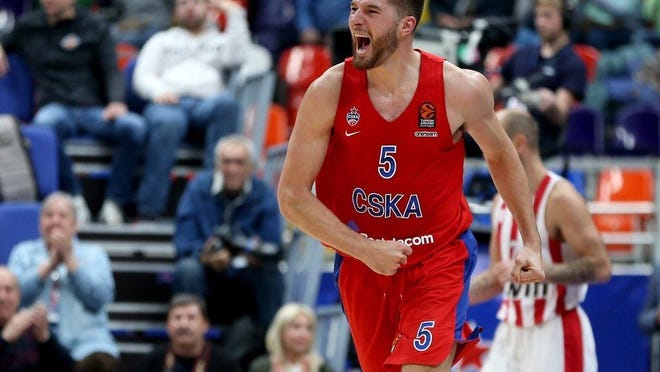 Former Washington High School and Valparaiso basketball player Alec Peters celebrates during a game with CKSA Moscow of the EuroLeague during the 2018-19 season.