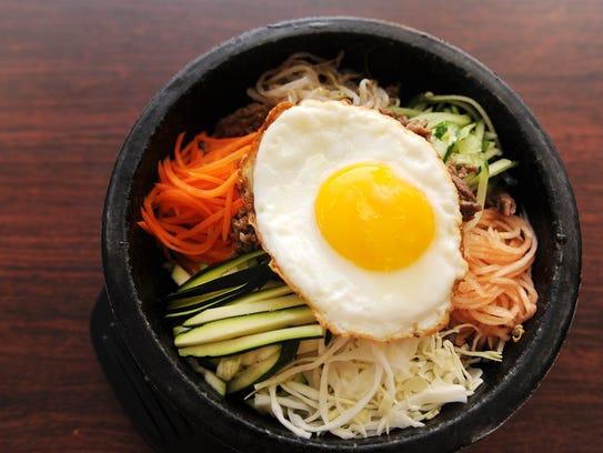 Bibimbap with an egg on top at Korea House.