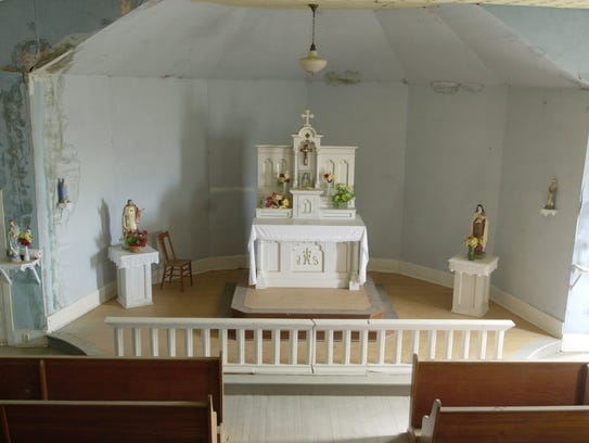 A interior view of Sacred Heart Catholic Church's shows