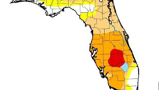 Drought conditions in Florida as of May 2, 2017.