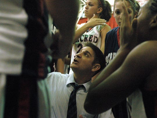 Steve DiPatri, shown here during his days at Sacred Heart in 2008, recently recorded his 400th career victory. He now coaches at Wildwood Catholic.
