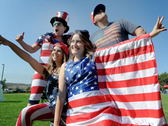 Eric Daley, from left, and his friends Ashlee Rollin, Kim Tannous, Natalee Maksood and Jonathan Tannous take a photo at Arroyo Vista Community Park in Moorpark for the 3rd of July Fireworks Extravaganza in 2018.