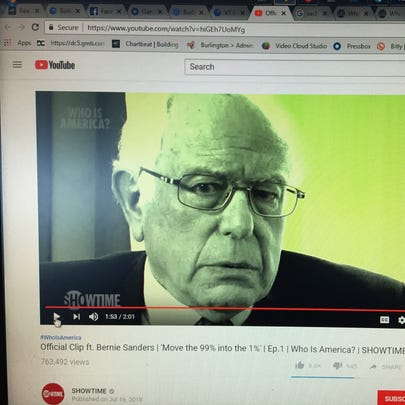 This screen shot shows Sen. Bernie Sanders, I-Vt.,