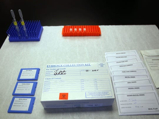 Example of a sexual assault kit in a lab at the Michigan