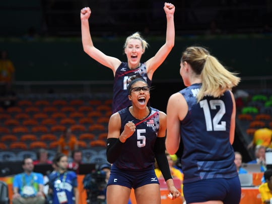 USA middle blocker Rachael Adams (5) celebrates against the Netherlands in the women's volleyball bronze medal match.