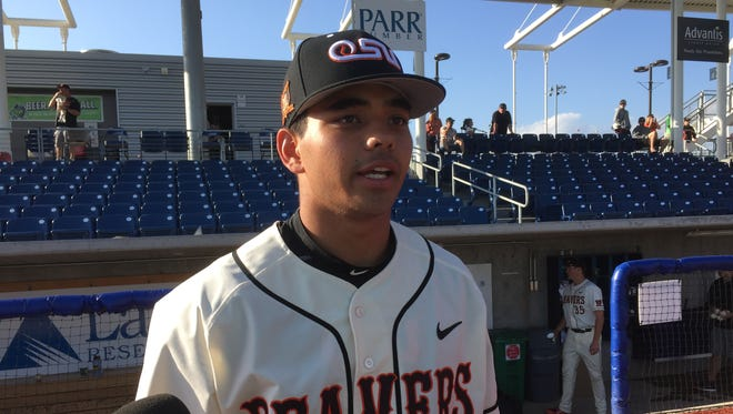Oregon State outfielder Christian Donahue after Saturday's 6-2 victory over Central Arkansas at Ron Tonkin Field in Hillsboro.
