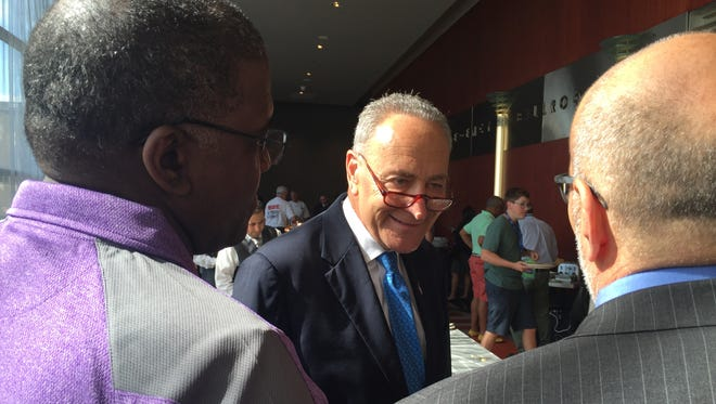 New York Sen. Chuck Schumer attends the New York delegation breakfast at the Democratic National Convention in Philadelphia on July 26, 2016.