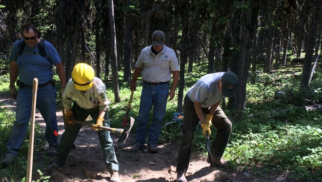 Members of the Friends of the Little Belts and other groups helped improve the Pilgrim Creek trailhead on July 22.