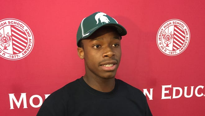 Elijah Collins after committing to Michigan State on Friday, Sept. 29, 2017 at U-D Jesuit.