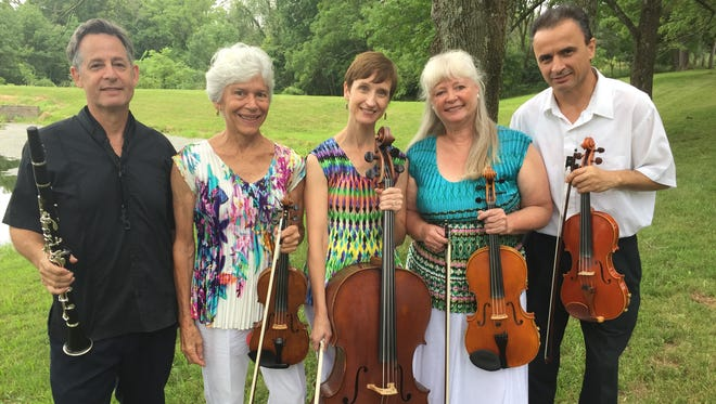 The Chanticleer String Quartet and guest Paul Klemperer will perform Friday at Morrisson-Reeves Library and Sunday at Chanticleer Farm. The musicians are Paul Klemperer (from left), Caroline Klemperer Green, Elizabeth Gottling Mendoza, Jennifer Smith and Stefan Xhori.