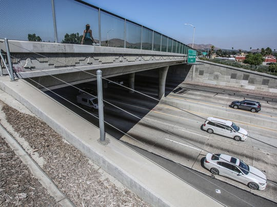 The La Sierra Avenue overpass, where Dane Norem was stabbed in 2012, is photographed on August 16, 2017.