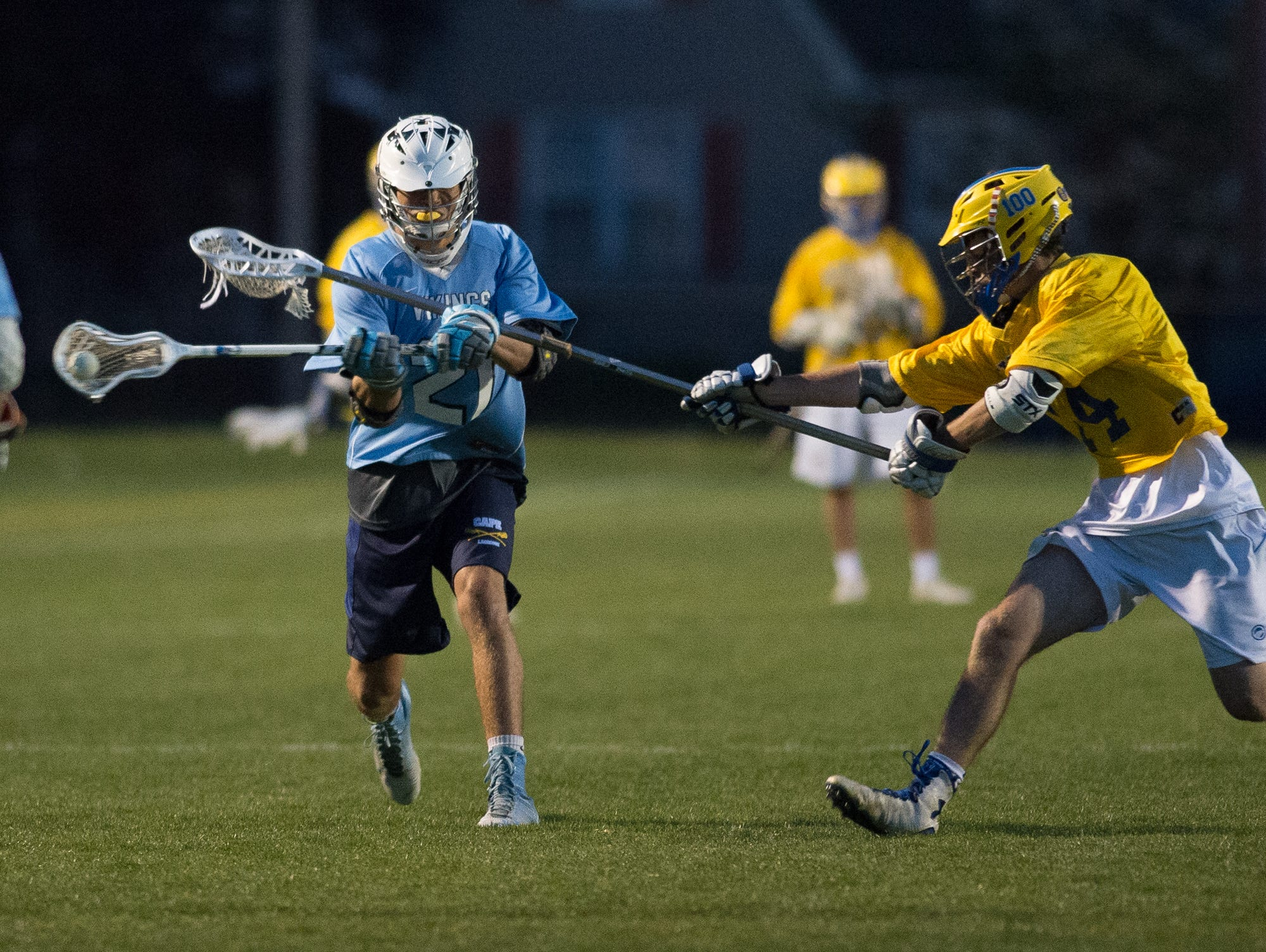 Cape Henlopen's Brock Maloomian (21) with a shot on goal in their game against Caesar Rodney.