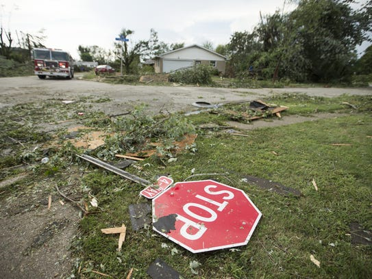 Damage from a tornado that touched down in Kokomo,