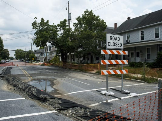 Cherry Street in Palmyra, where sinkholes opened in the 300 block of Cherry Street in October 2013. The borough will apply for federal grant money to undertake 2.2 million in repair work.