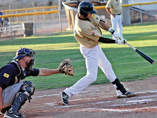 Wesley Wallace hits a two-run homer in the bottom of the fourth Wednesday evening at the Griggs Sports Complex.