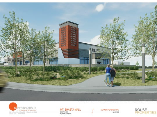 This is an architectural rendering of a building proposed for the corner of Hilltop and Dana Drive near Sears.