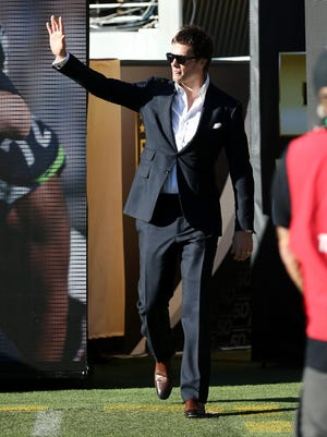 Three-time Super Bowl MVP Tom Brady of the New England Patriots looks on during Super Bowl 50 pregame Feb. 7, 2016, in Santa Clara, Calif.