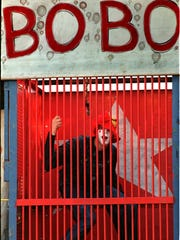 Bobo the clown at the north entrance to the Midway