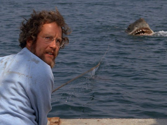 Richard Dreyfuss and a toothy buddy in 'Jaws.'