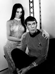 "Susan Demberg plays a mail order bride for Leonard Nimoy's ""Star Trek"" character, Mr. Spock, in a scene from the television program in 1967."