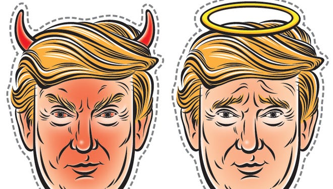 Angel or devil? You can decide. Pick your own Trump mask.