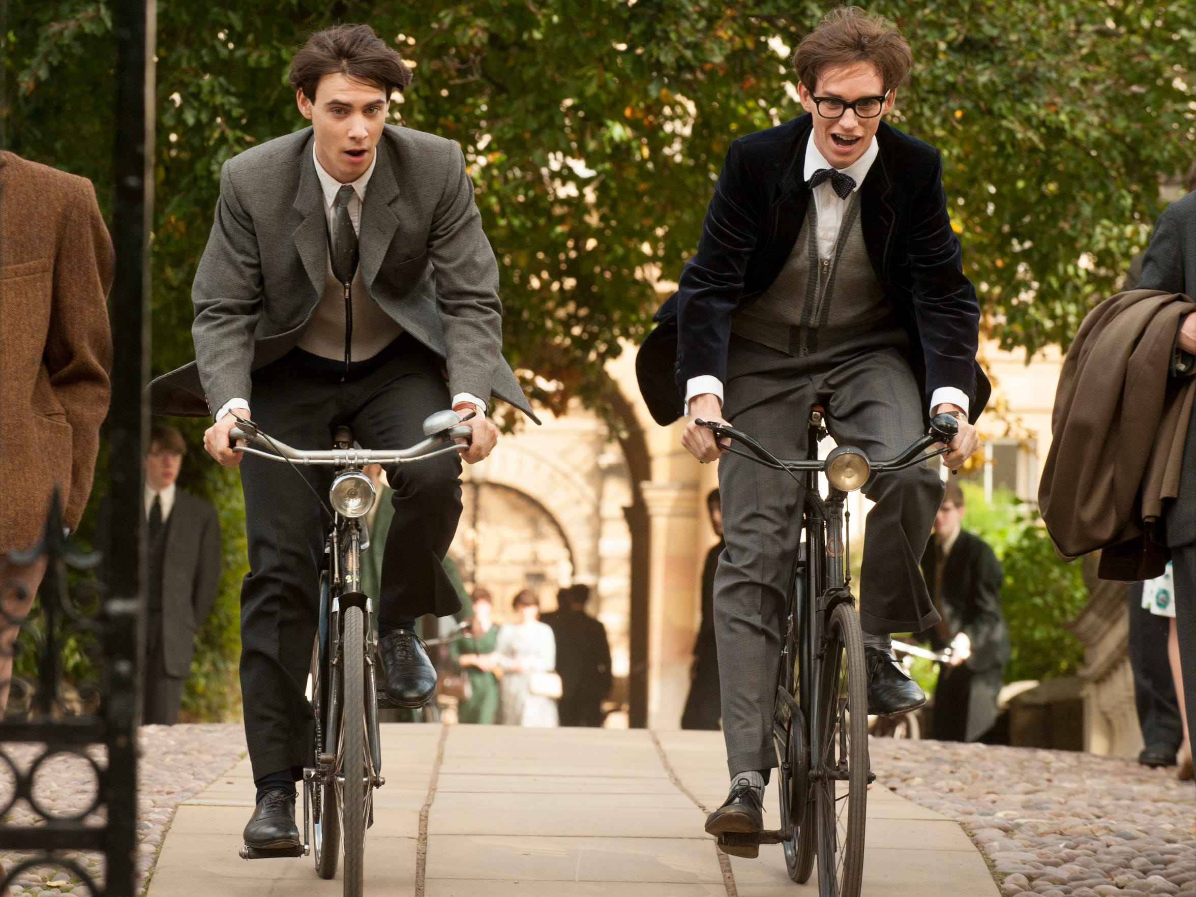 "Harry Lloyd (left) stars as Brian and Eddie Redmayne stars as Stephen Hawking in ""The Theory of Everything."""