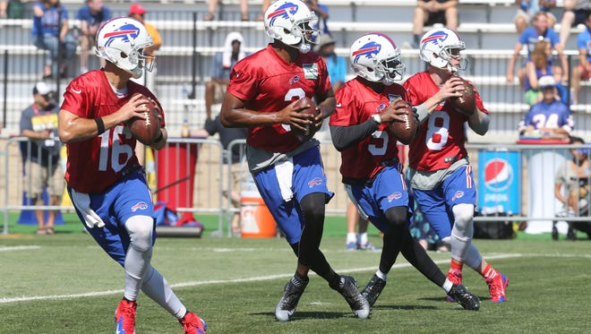 From left, Matt Cassel, EJ Manuel, Tyrod Taylor and Matt Simms battled it out in 2015 training camp, and Taylor was deemed the winner.