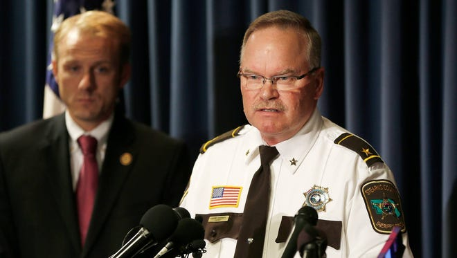 Stearns County Sheriff John Sanner takes questions during a news conference Oct. 29, 2015, in Minneapolis where federal charges stemming from a long-term child exploitation investigation were announced against Daniel Heinrich.