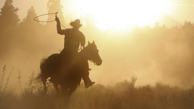 Cowboy roping on his horse silhouette