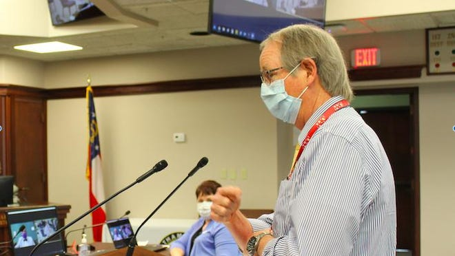 Coastal Health District Health Director Dr. Lawton Davis is shown speaking at a previous Chatham County Commission meeting.