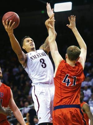 Former New Mexico State forward Remi Barry (3) will be on the NMSU alumni team for the Battle of the Rio Grande NMSU-New Mexico alumni game.